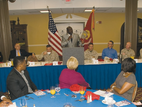 Victor L. Powell, presiding bishop, Rhema Word Cathedral, in Albany,?Ga., and guest speaker at Marine Corps Logistics Base Albany's National Day of Prayer Breakfast, addresses attendees at the Town and Country Restaurant's Grand Ballroom, here, May 2.