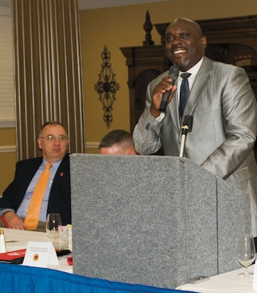 Victor L. Powell, presiding bishop, Rhema Word Cathedral, in Albany,?Ga., was the guest speaker at Marine Corps Logistics Base Albany's National Day of Prayer Breakfast at the Town and Country Restaurant's Grand Ballroom, here, May 2.