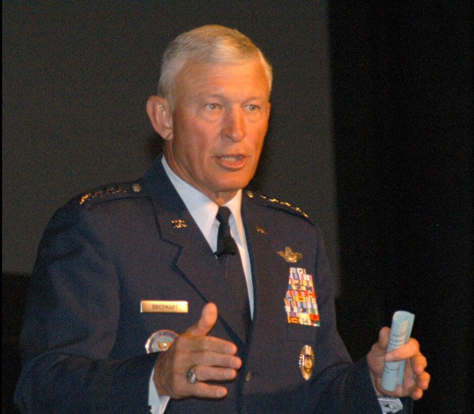Gen. Ed Eberhart, North American Aerospace Defense Command and U.S. Northern Command commander, addresses Homeland Defense Symposium.