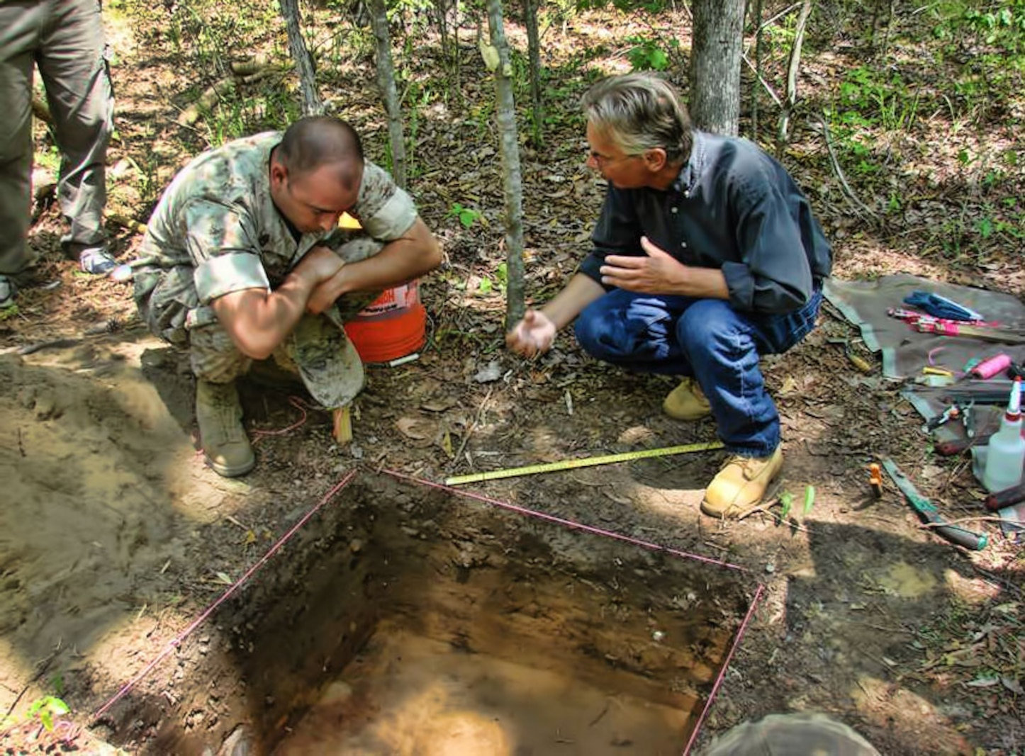 Base archaeologist discusses archaeological investigations in training areas aboard Marine Corps Base Camp Lejeune, N.C.