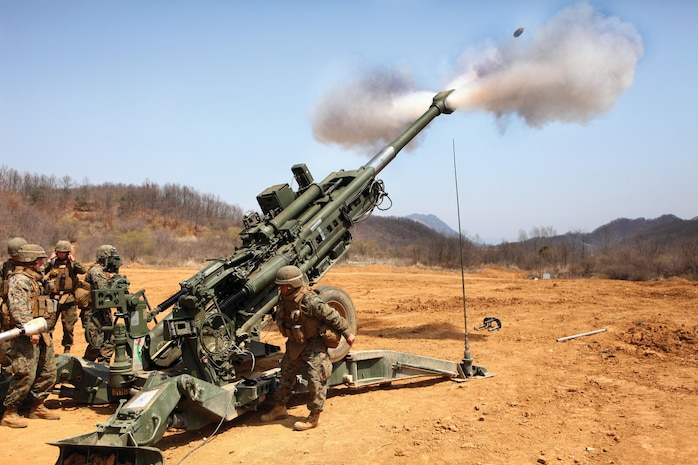 U.S. Marines fire the M777A2 155 mm howitzer April 17 in support of a combined arms live-fire exercise at Rodriguez Live-Fire Complex during Korean Marine Exchange Program 13-5, which was part of Exercise Ssang Yong 13. The Marines are with Alpha Battery, 1st Battalion, 12th Marine Regiment, 3rd Marine Division, III Marine Expeditionary Force. Photo by Lance Cpl. Jose D. Lujano