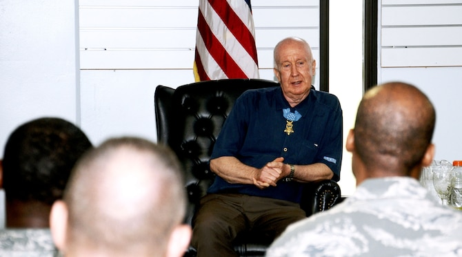 Retired U.S. Army Staff Sgt. Don Jenkins, one of the 85 living Medal of Honor recipients, speaks to approximately 40 senior NCOs about his experiences as a young Soldier and expressed his opinion on senior leadership to members of Andersen's Top Three at the Sunrise Conference Center, on Andersen Air Force Base, Guam, May, 3, 2013. Jenkins spoke with the Top Three organization as part of a visit to Joint Region Marianas. (U.S. Air Force photo by Airman 1st Class Mariah Haddenham/Released)