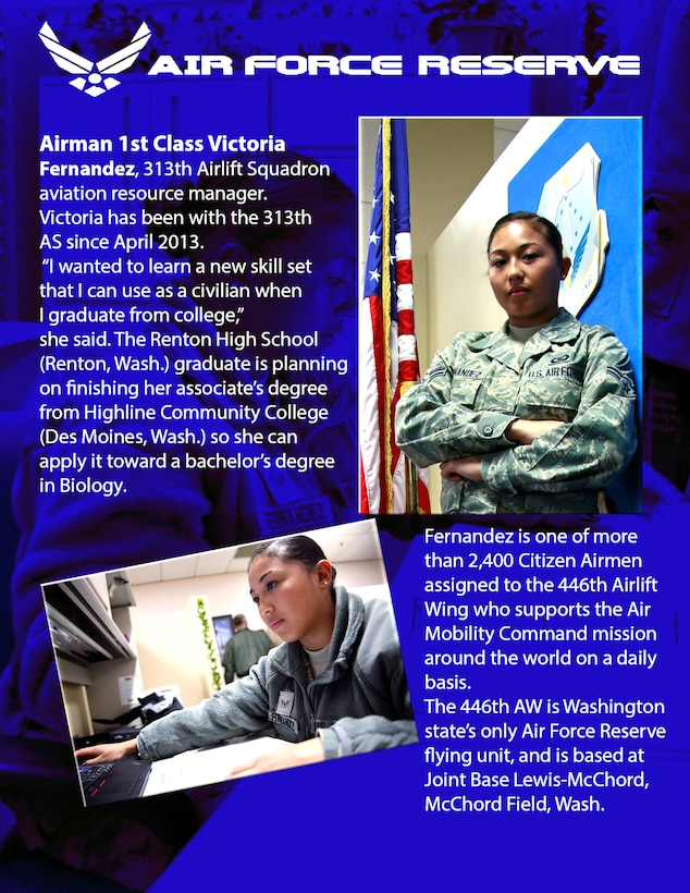 Airman 1st Class Victoria Fernandez, 313th Airlift Squadron aviation resource manager.