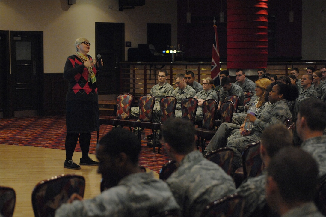 """Heather Imrie, Catharsis Productions director of program development from Chicago, speaks to Team Mildenhall Airmen about sexual assault awareness during the presentation """"The Hook-up"""" May 8, 2013, at the Galaxy Club on RAF Mildenhall, England. Catharsis toured U.S. Air Forces in Europe bases during the week of May 6. (U.S. Air Force photo by Airman 1st Class Dillon Johnston/Released)"""