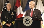 Homeland Security Secretary Michael Chertoff talks with media during his visit to the headquarters of the United States Northern Command, Peterson Air Force Base. NORAD-USNORTHCOM Commander Adm. Timothy J. Keating introduced Chertoff at the news conference.