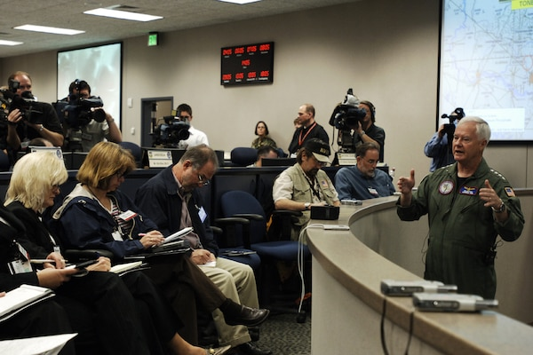 Adm. Timothy J. Keating, commander of U.S. Northern Command, addresses local, regional and national media on the command's disaster relief preparations for the upcoming hurricane season during the USNORTHCOM Hurricane Preparation Media Day May 4.