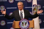 Secretary of Defense Donald Rumsfeld addresses local, regional and national media during his May 31 visit to USNORTHCOM.