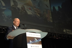 General Gene Renuart, commander of NORAD and USNORTHCOM, addresses more than 700 military and civilians from the space industry at the 23rd National Space Symposium April 11. Renuart spoke to conference atendees about the operator's point of view on space technology, and the importance of continuing to develop space-based capabilities. He said that space-based technology is vital to NORAD and USNORTHCOM's missions.