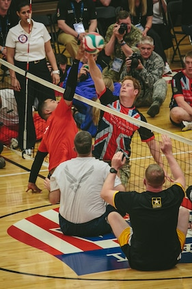 Wounded, ill and injured service member's from the Marine Corps, Army, Navy/Coast Guard and SOCOM showcased their athletic abilities during a heated seated volleyball match against Prince Harry and the British team. For the All-Marine team the Games provides opportunities for them to train as athletes, while increasing their strength so they can continue with military service or develop healthy habits for life outside the service. The forth annual Warrior Games will be held at the Olympic Training Center and Air Force Academy in Colorado Springs, Colo., May 10-16.  Athletes will have a chance to compete in swimming, track and field, volleyball, wheelchair basketball, cycling, shooting and archery.  The All-Marine team will defend their first place title against the Army, Navy /Coast Guard, Air Force and SOCOM.