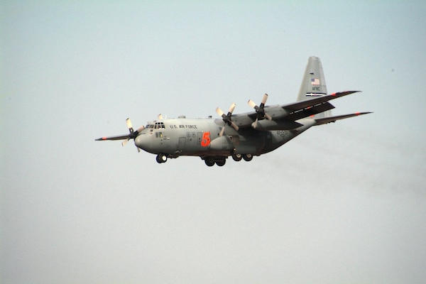 A C-130H Hercules aircraft outfitted with the Modular Aircraft Fire Fighting System (MAFFS)for aerial fire fighting capabilities prepares to land at Channel Islands Air National Guard Station, Camarillo, CA on Nov 20, 2007. The aircraft and crews are on standby in anticipation of expected wildfires in Southern California with the return of the Santa Ana Winds.