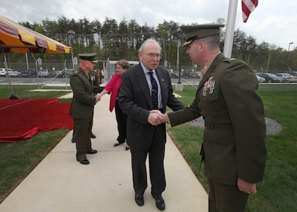 The Marine Corps Information Operations Center (MCIOC) dedicates it's new building, Walt Hall, to General Lewis W. Walt on  April 19, 2013 at Marine Corps Base Quantico, Quantico, Va. Gen. Walt was designated in 1968 as the first four-star Assistant Commandant of the Marine Corps and is recognized as a pioneer in Marine Corps information operations. (Official U.S. Marine Corps photo by Sgt. Kristofer Atkinson/Released)
