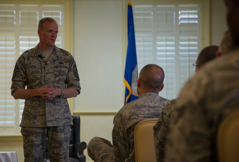 Chief Master Sgt. of the Air Force James Cody speaks to the crowd during an Airmen's Call May 9, 2013, at the Charleston Club at Joint Base Charleston - Air Base, S.C. Cody talked about sequestration, potential changes to the enlisted evaluation system, and the idea of using a board to select Airmen for promotion to the rank of master sergeant. (U.S. Air Force photo/Staff Sgt. Rasheen Douglas)
