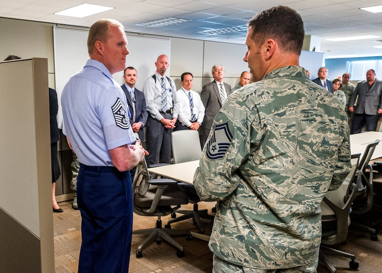 Chief Master Sgt. of the Air Force James Cody speaks with OSI members during his tour of OSI headquarters at Quantico, Va. Cody also received a mission brief and attended a town hall style meeting. (U.S. Air Force Photo/Mr. Mike Hastings)