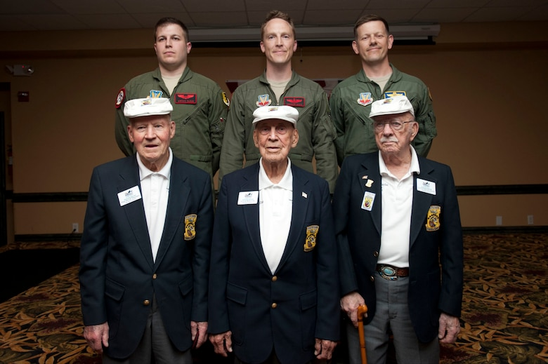 The past and Present Doolittle Raiders pose for a photo during a reception, April 19, 2013. (Left top) 1st Lt. Arman Olgun, Maj. Donavon Davis, Lt. Col. John Martin, (bottom left) David Thatcher, Dick Cole and Ed Saylor. (U.S. Air Force Photo by Senior Airman Carlin Leslie)