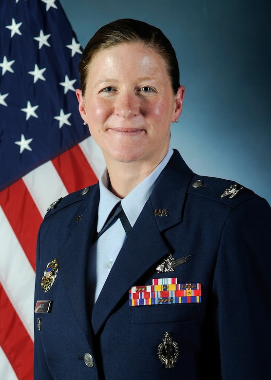 Col. Tracey Hayes, 460th Space Wing vice commander, prepares to assume command of the 90th Missile Wing, F.E. Warren Air Force Base, Wyo. She has been stationed at Buckley AFB three times for nearly a third of her career. (U.S. Air Force photo by Phillip Houk/Released)