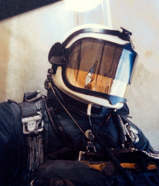 Capt. Kittinger during the Excelsior III ascent. Strapped to him were oxygen bottles, instrumentation and the Beaupre Multi-Stage Parachute system. (U.S. Air Force photo)