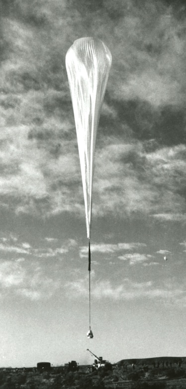 Beginning the ascent in the Excelsior III gondola. As the balloon rises into the upper atmosphere, the helium gas inside expands and fills out the envelope of the balloon.  The tests were carried out over the barren terrain of New Mexico. (U.S. Air Force photo)
