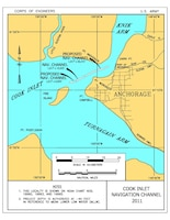 The Cook Inlet Navigation Channel is located almost six miles from the Port of Anchorage within Knik Arm of Cook Inlet, west of Anchorage and northeast of Fire Island. It is the only Coast Guard marked route for all cargo and fuel ships supplying the Port of Anchorage.