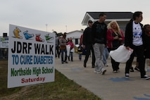 Families gather and start the 7th Annual Walk to Cute Diabetes March 23 in Jacksonville, N.C. The Walk to Cure diabetes aims to spread knowledge and awareness about type 1 diabetes. (Photo by Pfc. Justin A. Rodriguez/released)