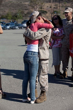 Sergeant Nick Richardson, an Infantryman serving with Weapons Company, 3rd Battalion, 5th Marine Regiment and a native of Broken Arrow, Okla., hugs his wife, Lana, after being dismissed from a formation on the San Mateo parade deck here, May 13, 2013. Families and friends welcome home their Marines and sailors after an eight-month deployment with the 15th Marine Expeditionary Unit. The battalion has been deployed aboard USS Greenbay, USS Peleliu and USS Dubuque as part of the Peleliu Amphibious Ready Group, U.S. Central Command theater reserve force, providing support for maritime security operations and theater security cooperation efforts. The 15th MEU is a Marine Air Ground Task Force comprised of approximately 2,400 personnel.