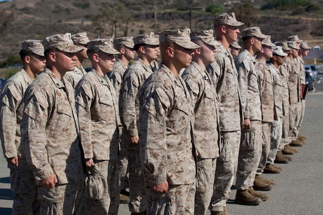 Marines and sailors from Weapons Company, 3rd Battalion, 5th Marine Regiment, Stand at attention in formation on the parade deck at Camp Pendleton, Calif. on 13 May, 2013. Families and friends welcome home their Marines and sailors after an eight-month deployment with the 15th Marine Expeditionary Unit. The battalion has been deployed aboard USS Greenbay, USS Peleliu and USS Dubuque as part of the Peleliu Amphibious Ready Group, U.S. Central Command theater reserve force, providing support for maritime security operations and theater security cooperation efforts. The 15th MEU is a Marine Air Ground Task Force comprised of approximately 2,400 personnel.