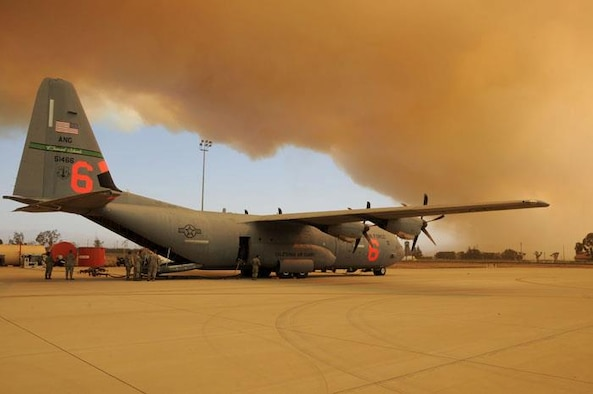 Camarillo Springs fire sends a large plume of smoke over the entire base May 2, 2013. Airmen were standing by for potential MAFFS activation. (Senior Airman Nicholas Carzis)