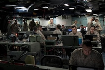 130426-N-EI510-001 USS Bataan (April 26, 2013) – U.S. Marines and Coalition partners attached to the multipurpose amphibious assault ship USS Bataan (LHD 5) participate in simulated operations as part of the exercise Bold Alligator 2013. Bold Alligator 2013 is a multi-national, synthetic naval amphibious exercise designed to train across the full range of amphibious capabilities in order to provide unique and contemporary solutions to global challenges. (U.S. Navy photo by Mass Communication Specialist Seaman Scott Barnes/RELEASED)
