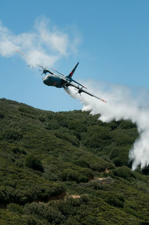 C-130J from the 146th Airlift Wing performs a water drop for training in the Angeles National Forest May 14, 2013. (U.S. Air National Guard photo by Senior Airman Nicholas Carzis).