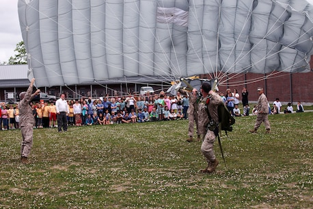 "Approximately five classes totaling 120 students from the 4th Grade class from Bitz Intermediate School visited the U.S. Marine Corps Forces, Special Operations Command Paraloft. ""It's good for them, we put things into perspective for the kids and they learn how parachutes work,"" said Sgt. Patrick Ward, 27, Marine Special Operations Regiment, parachute rigger, from Rockford, Mich. The Marines displayed the numerous types of equipment and the different parachutes they use."