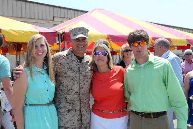 Lt. Col. Willie Stansell, the commanding officer for Marine Aviation Logistics Squadron 31, gathers with his family after the MALS-31 change of command ceremony aboard Marine Corps Air Station Beaufort, May 10. Lt. Col. Bill Gray relinquished command of MALS-31 to Stansell after serving as the commanding officer of MALS-31 for two years.