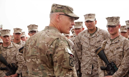 U.S. Army Lt. Gen. James L. Terry, commander, International Security Assistance Force Joint Command, addresses U.S.Marines and Sailors assigned to Headquarters Company, Regimental Combat Team 7 on Camp Leatherneck, Afghanistan, April 22, 2013.