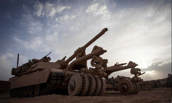 A U.S. Marine M1A1 Abrams tank with Delta Company, 1st Tank Battalion, Regimental Combat Team 7, is staged on forward operating base Shir Ghazay, Helmand province, Afghanistan, April 25, 2013.
