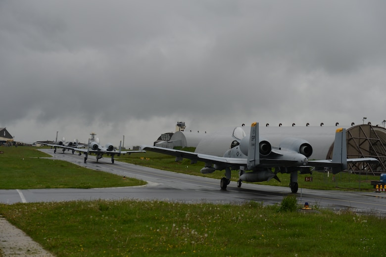 SPANGDAHLEM AIR BASE, Germany – U.S. Air Force A-10 Thunderbolt II attack aircraft assigned to the 81st Fighter Squadron takes off for the final time from Spangdahlem Air Base and Europe May 17, 2013. The squadron officially inactivates in June. Several A-10s will be reassigned to Davis-Monthan Air Force Base, Ariz. (U.S. Air Force photo by Airman 1st Class Gustavo Castillo/Released)