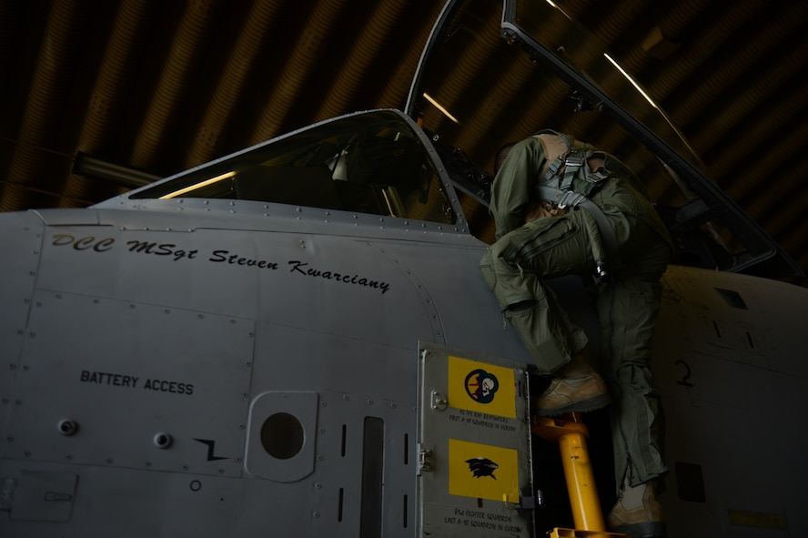 SPANGDAHLEM AIR BASE, Germany – U.S. Air Force Lt. Col. Clinton Eichelberger, 81st Fighter Squadron commander, inspects the cockpit of an U.S. Air Force A-10 Thunderbolt II attack aircraft before departing May 17, 2013. Eichelberger flew one of the final four A-10 aircraft flight to leave Europe at Spangdahlem Air Base. (U.S. Air Force photo by Airman 1st Class Gustavo Castillo/Released)