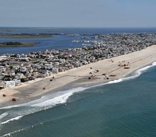 The U.S. Army Corps of Engineers Philadelphia District pumped 1.2 million cubic yards of sand onto Brant Beach in Long Beach Township, NJ in 2012. Coastal Storm Risk Reduction projects like this one prevented millions of dollars in damages from Hurricane Sandy. USACE is returning this summer to repair and restore the project.