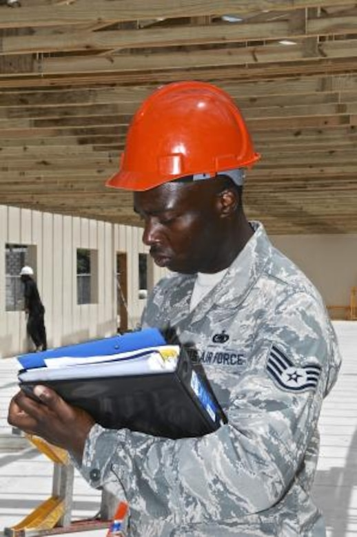 Staff Sgt. Tori Wynn, left, unit safety representative for the 823rd Expeditionary RED HORSE Squadron, writes down notes during a safety inspection at the Trial Farm Government School construction site, May 18, 2013. Wynn was conducting a weekly safety inspection at the site to assist with adherence to safety standards. Civil Engineers from both the U.S. and Belize are constructing various structures at schools throughout Belize as part of an exercise called New Horizons. Building these facilities will support further education for the children of the country and provide valuable training for U.S. and Belizean service members. (U.S. Air Force photo/Master Sgt. James Law)