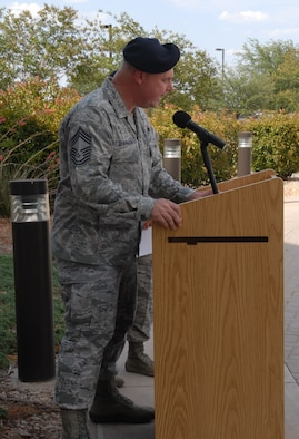 GOODFELLOW AIR FORCE BASE, Texas – Chief Master Sgt. Richard Sherman, Air Education and Training Command Security Forces functional manager, gives a speech during the retreat ceremony at the Norma Brown building, May 17. Security Forces held different events and activities to commemorate Peace Officers Memorial Day and Police Week from May 13 to 17. (U.S. Air Force photo/ Airman 1st Class Breonna Fields)