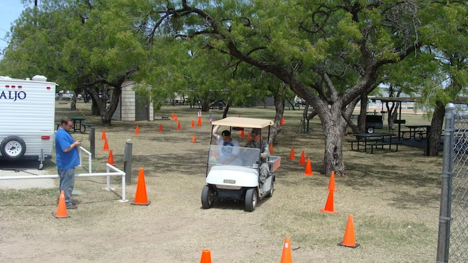 SAN ANGELO, Texas – Master Sgt. Christopher Norci, 17th Force Support Squadron's first sergeant, participated in the beer-goggle challenge course at the Goodfellow Air Force Base Recreation Camp, April 26. The driving course consisted of a 10 foot walk to the golf cart and a simulated course to represent everyday driving. (Courtesy photo)