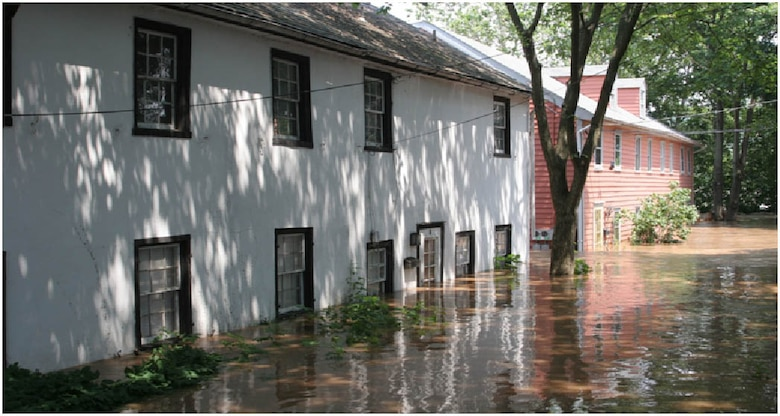 An effective flood warning and response system is necessary to prepare for flood events, and to reduce property damage and the loss of life. This photo shows first floor flooding of residential structures in New Hope, Penn. in 2006.