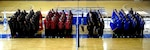 Teams from across the Services line up for the opening ceremony of the 2013 Armed Forces Indoor Volleyball Championship at Hill AFB, UT.  Army men and women took home team titles in the 2013 competition, just one week after taking both beach volleyball golds.