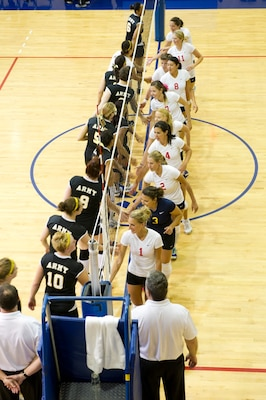 Army and the Navy/Marine Corps combined womens teams finish with the Army winning three sets to one:  19-25, 25-15, 25-15, 25-20