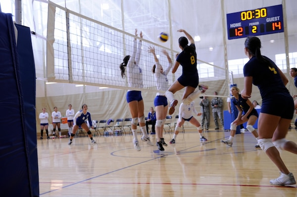 LTJG Jesselyn Lavalley (USA-USMC #8 Charleston, SC) slams one over the net vs USAF