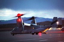 A U.S. Marine MV-22 Osprey helicopter prepares to depart the runway at St. George Airport, May 9, 2013. Marines and Sailors established a forward refueling point (FRP) to resupply military aircraft with necessary fuel and equipment to conduct ground realistic urban training at a forward location. This training exercise is in preparation for the 13th MEU's upcoming WESTPAC 13-2 deployment.