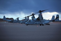 A U.S. Marine MV-22 Osprey helicopter taxis the runway at St. George Airport, May 9, 2013.  Once landed, Marines and Sailors established a forward refueling point (FRP) to resupply military aircraft with necessary fuel and equipment to conduct ground realistic urban training at a forward location. This training exercise is in preparation for the 13th MEU's upcoming WESTPAC 13-2 deployment.