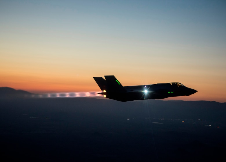 The F-35 Integrated Test Force is completing a series of night flights, testing the ability to fly the jet safely in instrument meteorological conditions where the pilot has no external visibility references. The ITF, which has the lead on all F-35 mission systems testing, is responsible for five of the six night flights. (Courtesy Photo by Tom Reynolds/Lockheed Martin)