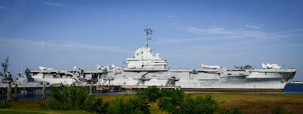 The number 13 is displayed on USS Yorktown's  (CV-10)  island in honor of the USS Franklin (CV-13), as the surviving crewmembers gather for their final reunion May 17, 2013, at Patriots Point Naval and Maritime Museum, Mount Pleasant, S.C. The Franklin participated in Pacific Theater operations during World War II and was in service from 1944 to 1945. The ship is best known for the March 19, 1945 attack, when two Japanese bombs struck the ship. It is estimated that more than 800 individuals were killed and nearly 500 wounded. (U.S. Air Force photo/Staff Sgt. Anthony Hyatt)