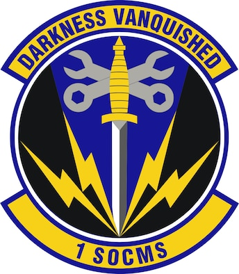 Ultramarine blue and Air Force yellow are the Air Force colors.  Blue alludes to the sky, the primary theater of Air Force operations.  Yellow refers to the sun and the excellence required of Air Force personnel.  The dagger is symbolic of the unit's support to the Special Operations mission.  The crossed wrenches are representative of the mechanical support supplied to various Special Operations aircraft.  The lightning bolts are symbolic of the powerful capabilities and precision focus each of the Squadron's four flights (Accessory, Avionics, Electronic Warfare and Propulsion Flights) provides to the unit's diverse fleet of Special Operations aircraft.