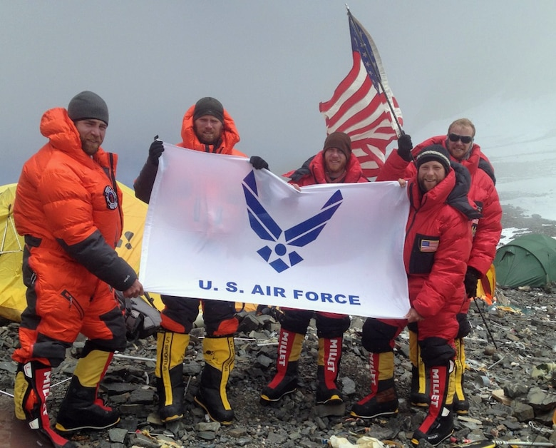 Airmen with the Air Force Seven Summits Team pose for a group photo at Camp 4 along the South Col of Mount Everest in Nepal May 19, 2013. The camp sits more than 26,000 feet above sea level. (U.S. Air Force photo)