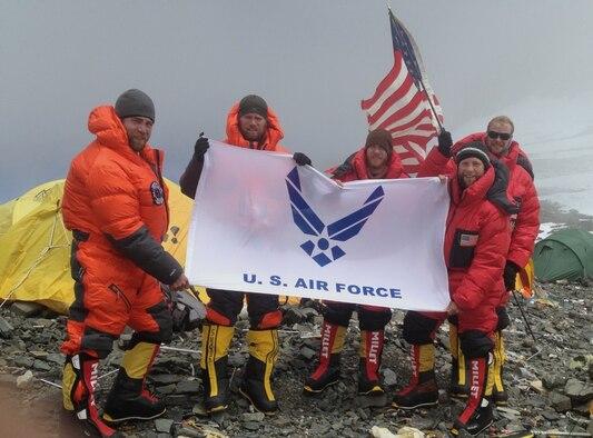 USAF 7 Summits Team members at Camp 4. (Courtesy of USAF 7 Summits)