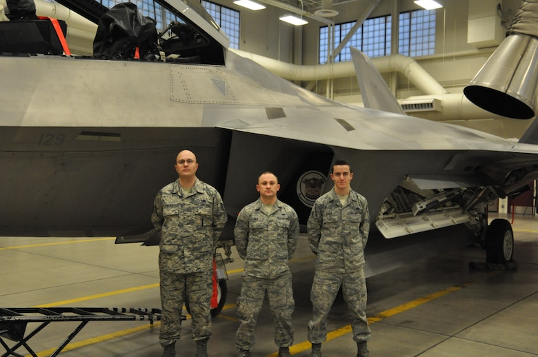 Three Reservists from the 477th Aircraft Maintenance Squadron were recently awarded the 2012 JBER F-22 Load Crew of the Year during a ceremony here May 17. This is the first time that a crew comprised of three Air Force Reserve members have won the JBER F-22 Load Crew of the Year.(U.S. Air Force/ Tech. Sgt. Dana Rosso)